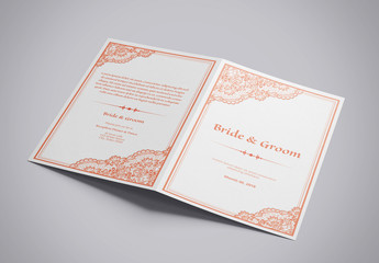 Single-Fold Wedding Program with Peach Accents