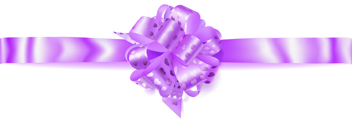 Beautiful big horizontal bow made of light purple ribbon with small shiny hearts with shadow on white background