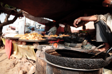 Indian Food At A Market Stall