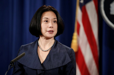 "United States Attorney for the District of Columbia Jessie Liu speaks during a news conference to discuss ""efforts to reduce violent crime"" at the Department of Justice in Washington"