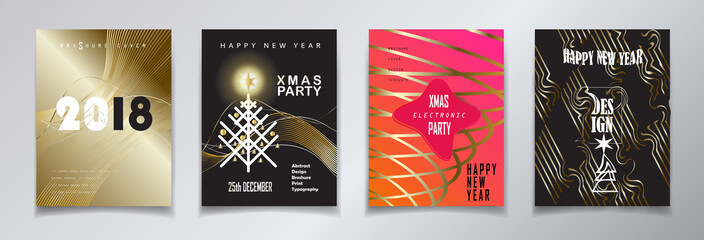 2018 vector, Happy new year, christmas winter holiday party invitation, brochure, flyer, greeting card, sale banner, template, set. Abstract Modern gold geometric motion design lights effect.