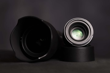 dslr zoom lens with prime lenses. photography equipment