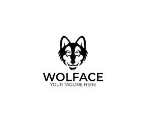 Wolf Face Logo Template. Animal Vector Design. Predator Illustration