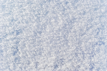 background, texture: soft, fluffy surface of freshly fallen snow with distinguishable individual snowflakes