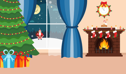 Christmas room. Santa Claus outside the window. Winter holidays. Fireplace, Christmas tree and gifts. Happy New Year and Christmas. Vector illustration.
