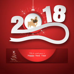 Vector poster for Happy New Year with round red insert and numbers with ball and dog cut from paper hanging from cutout with shadow on the gradient red background.