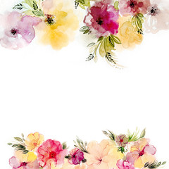 Watercolor hand painted flowers. Summer floral frame, great for greeting cards.