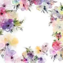 Wild flowers watercolor flower frame. Floral corners for wedding, mother's day and Valentine's greeting cards.