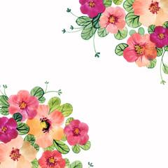 Cute watercolor flower frame. Floral corners. Wild flowers summer border.