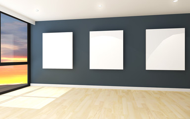white canvas on blue wall in the gallery