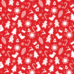 Seamless pattern with Christmas elements isolated on a white background. Vector illustration