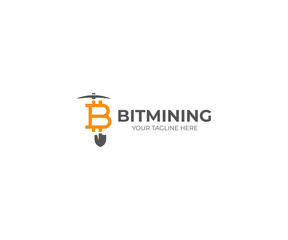 Bitcoin Mining Logo Template. Cryptocurrency Vector Design. Mining Tools Illustration