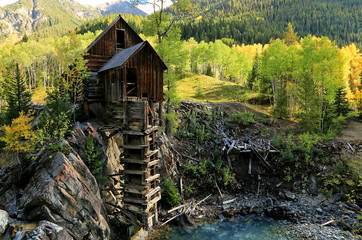 OLd wooden mill in the Colorado Rockies, USA.