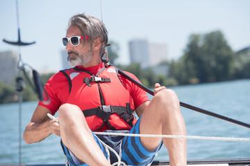 man wearing life jacket