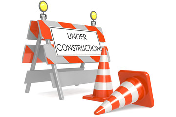 Under construction sign with traffic cones