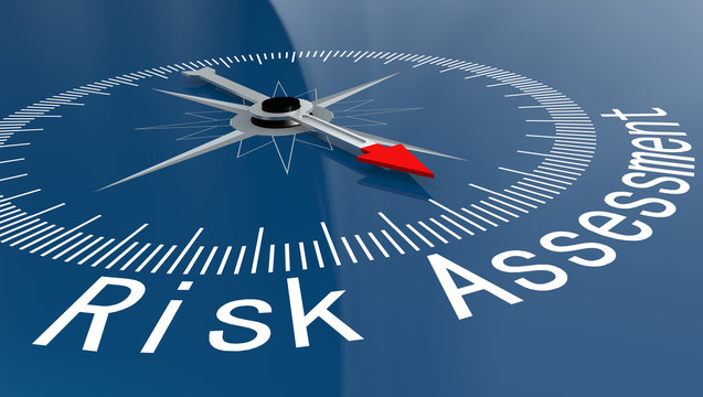 Blue compass with Risk Assessment word