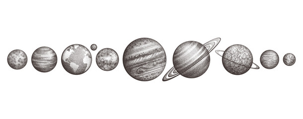 Collection of planets in solar system. Engraving style. Vintage elegant science set. Sacred...