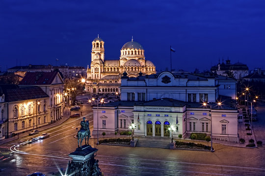 Sofia city centre at night, Bulgaria