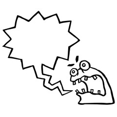 Angry knot monster screams. Speech bubble. Vector Illustration.