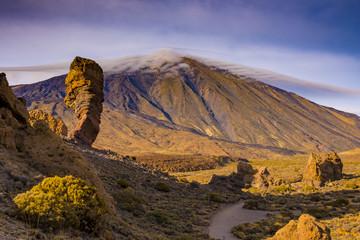 El Teide National Park Tenerife. Desert volcano style landscape. Spanish highest mountain.
