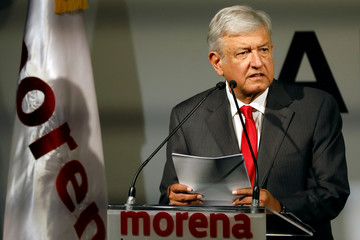 Mexican presidential candidate Andres Manuel Lopez Obrador of the National Regeneration Movement (MORENA) reacts during the presentation of his shadow cabinet for the July 2018 presidential election, in Mexico City, Mexico