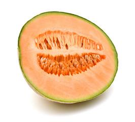 A half of cantaloupe melon on white background