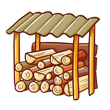 Funny and cute woodshed outdoor vintage - vector.