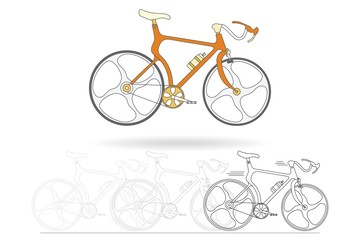 Orange mountain bikes isolated on white background, black and white outline drawing of bicycle, vector illustration