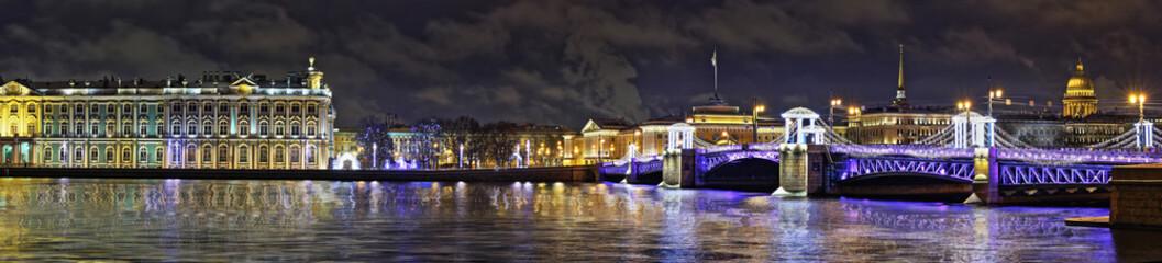 Panorama of night St. Petersburg in holiday illumination