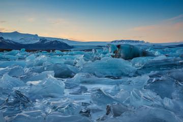 Jokulsárlon Glacier Lagoon at sunset
