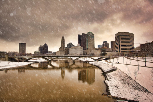Snowy day in Columbus Ohio along the Scioto river waterfront