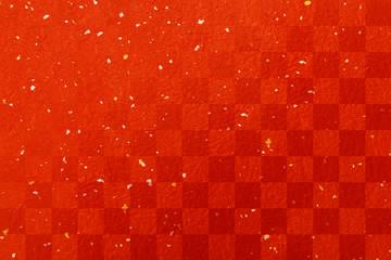 年賀状赤い和紙素材-金箔銀箔市松模様