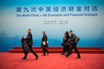 Delegates attend the UK-China Economic Financial Dialogue at the Diaoyutai State Guesthouse in Beijing