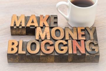make money blogging  in vintage wood type