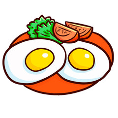 Funny and yummy two egg fried with tomatoes on red plate - vector.