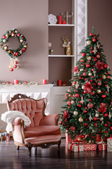Image of chimney and decorated Christmas tree with gift