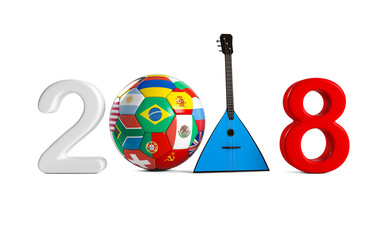 2018 written by Russian flag colors, in places zero ball with national flags with Russian national musical instrument balalaika. Isolated on white background. 3D Rendering, Illustration.