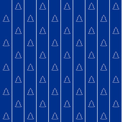Blue christmas wrapping paper seamless pattern. White firs on the blue background