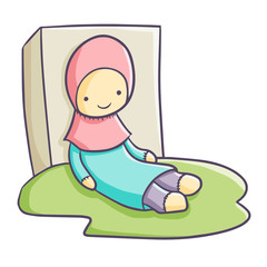 Funny and cute hijab doll for children - vector.
