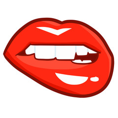 Cute and funny sexy red woman lip biting itself - vector.