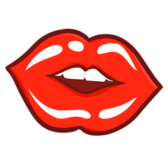 Cute and funny sexy red woman lip kissing the screen - vector.