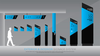 exterior and interior signage blue graphic. direction, pole, wall mount and traffic signage system design template set. empty space for logo, text, color corporate identity