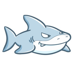 Funny and cute blue shark swimming - vector.