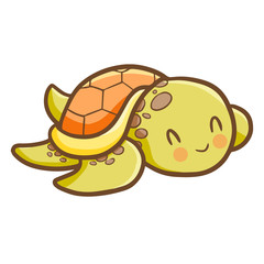 Funny and cute green orange old turtle - vector.