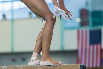 Gymnast Girl Beam Routine Legs Hands