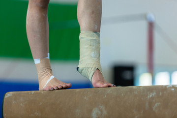 Gymnast Girl Beam Ankle Srtapped