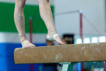 Printed kitchen splashbacks Gymnastics Gymnast Girl Beam Ankle Srtapped