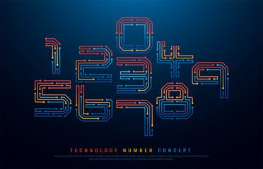 Technology digital numbers network concept. 1, 2, 3, 4, 5, 6, 7, 8, 9 colorful font. vector illustrator