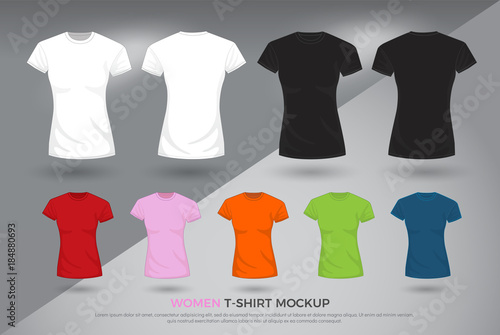 Women T Shirt Mockup Set Of Black White And Colored T Shirts