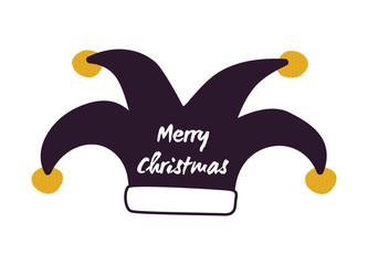 Merry Christmas Joker Hat Vector Illustration